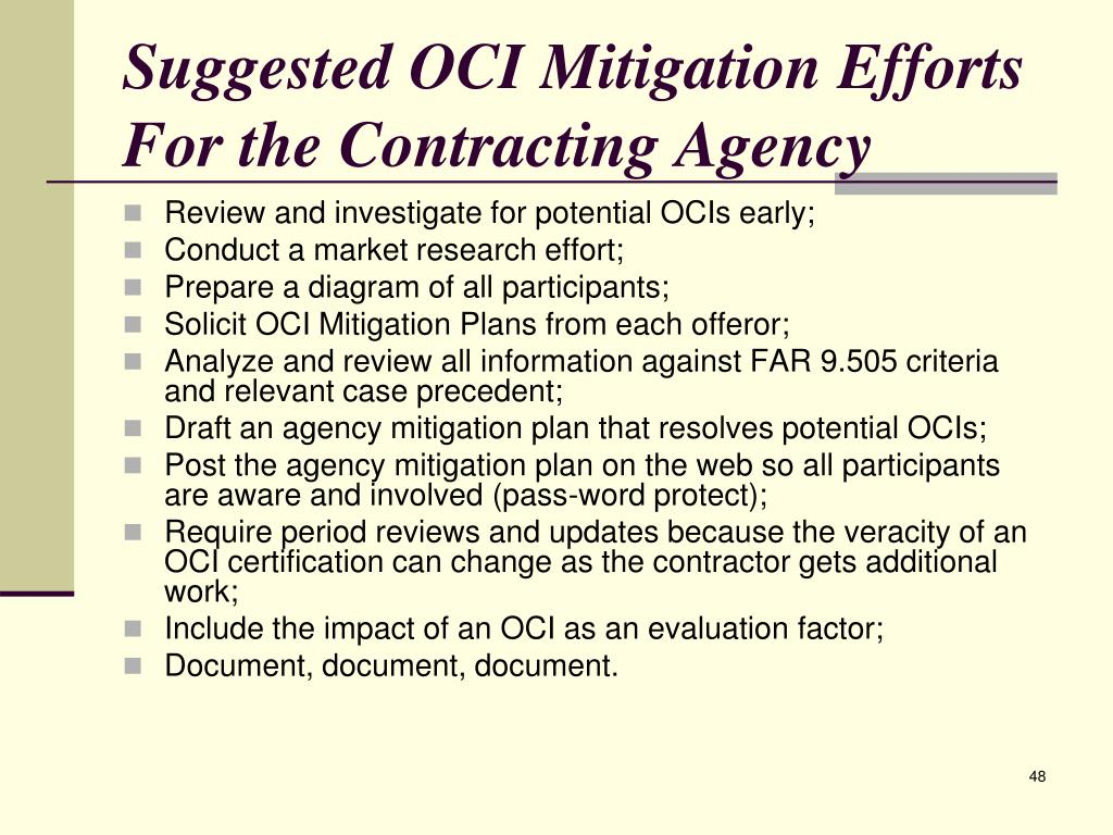 Suggested OCI Mitigation Efforts For the Contracting Agency