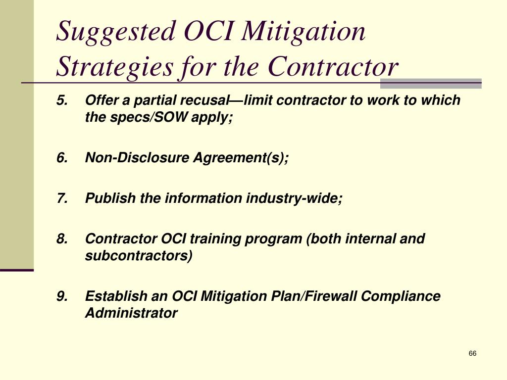 Suggested OCI Mitigation Strategies for the Contractor
