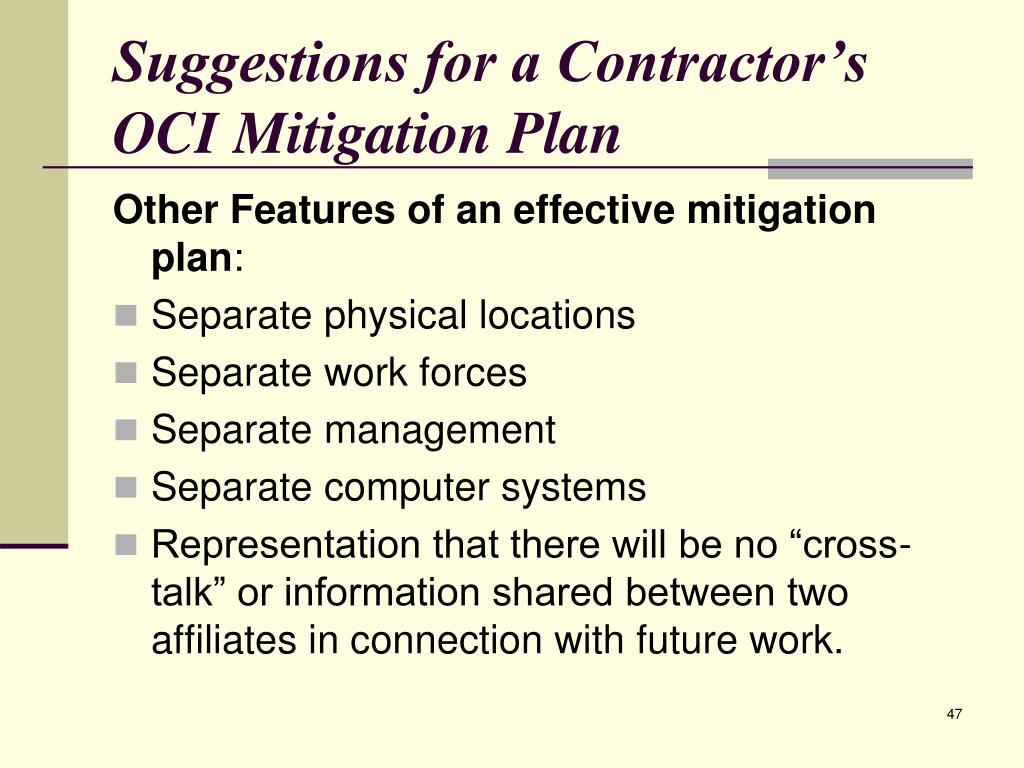 Suggestions for a Contractor's OCI Mitigation Plan