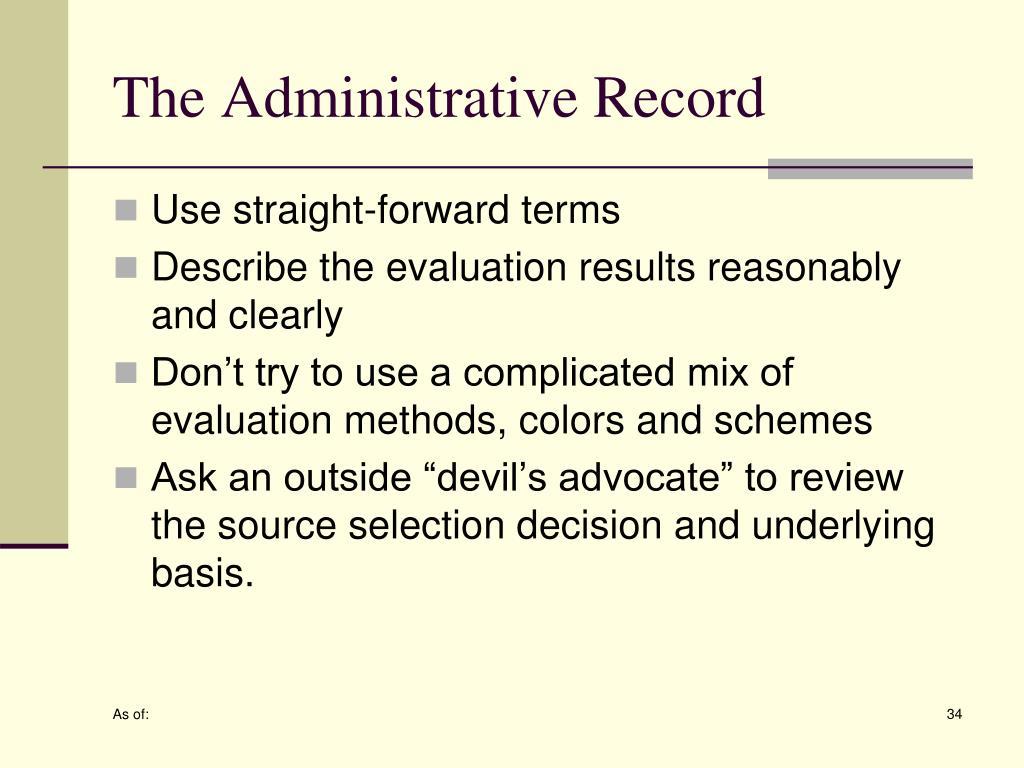 The Administrative Record