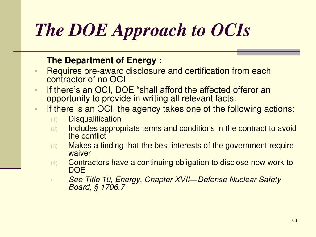The DOE Approach to OCIs