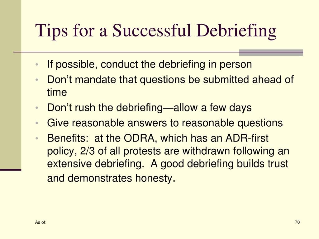 Tips for a Successful Debriefing