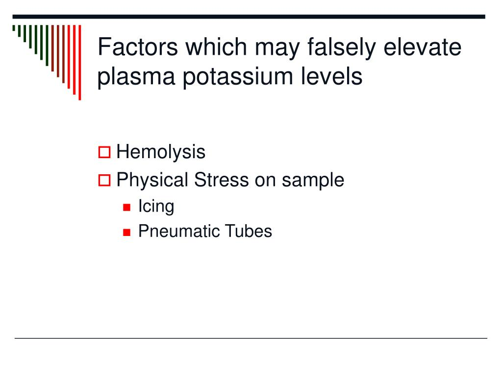 Factors which may falsely elevate plasma potassium levels