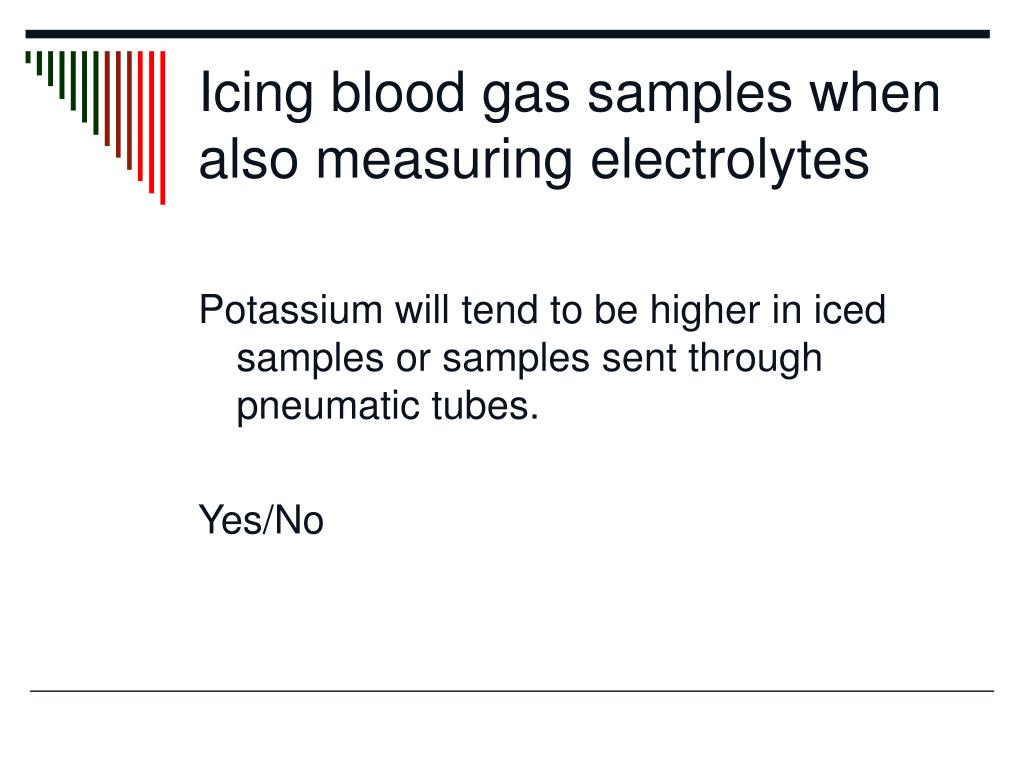 Icing blood gas samples when also measuring electrolytes