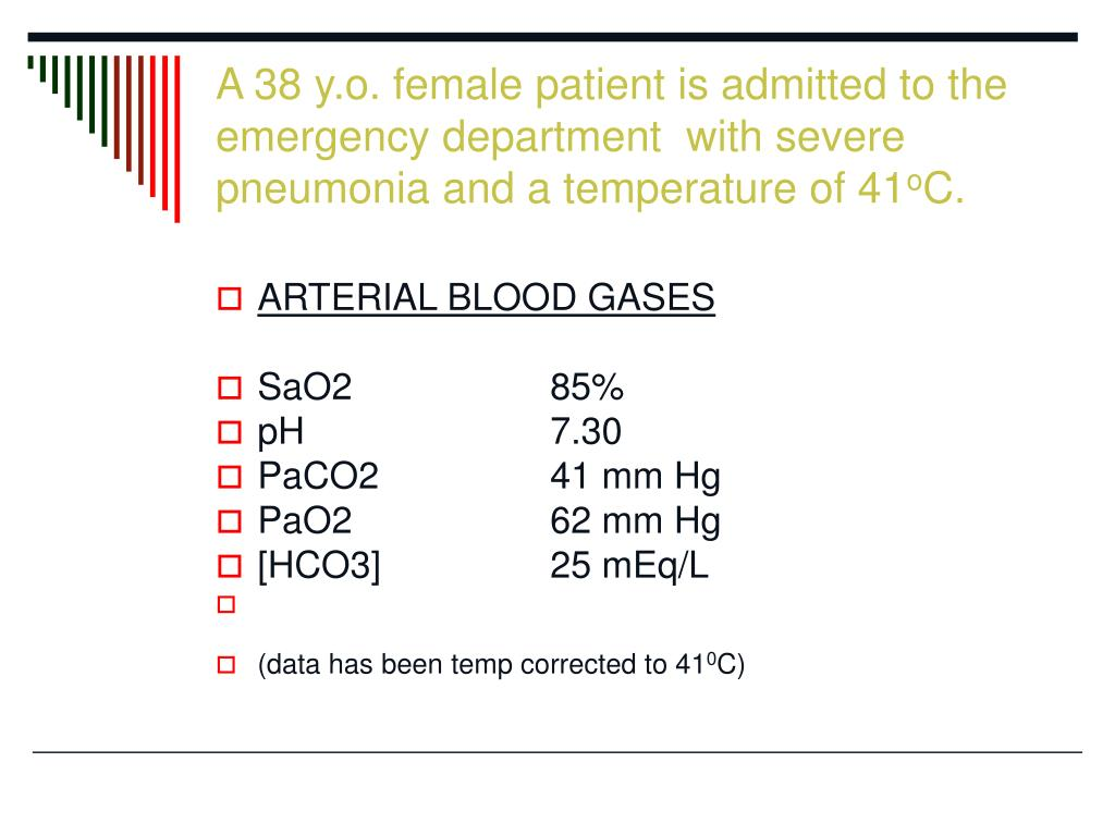 A 38 y.o. female patient is admitted to the emergency department  with severe pneumonia and a temperature of 41