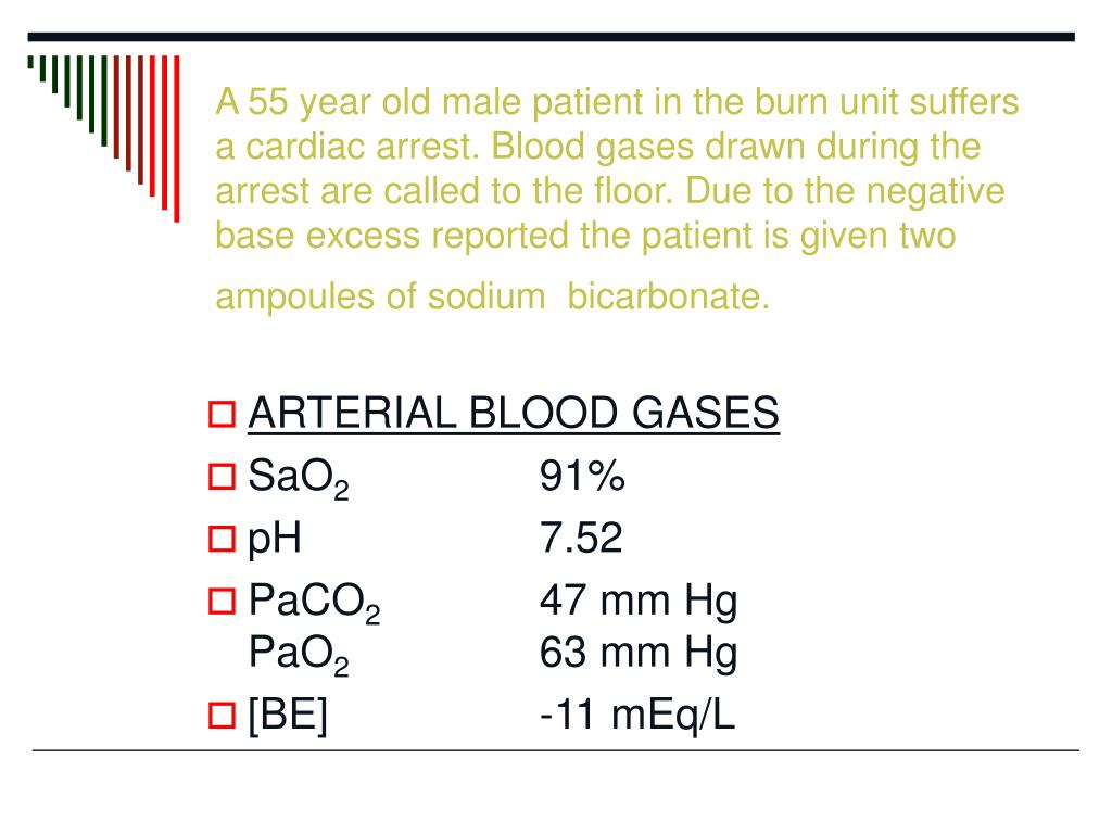 A 55 year old male patient in the burn unit suffers a cardiac arrest. Blood gases drawn during the arrest are called to the floor. Due to the negative base excess reported the patient is given two ampoules of sodium  bicarbonate.