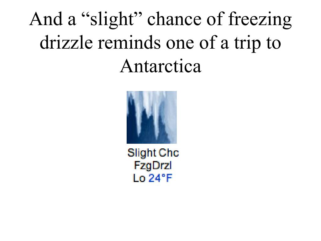 "And a ""slight"" chance of freezing drizzle reminds one of a trip to Antarctica"