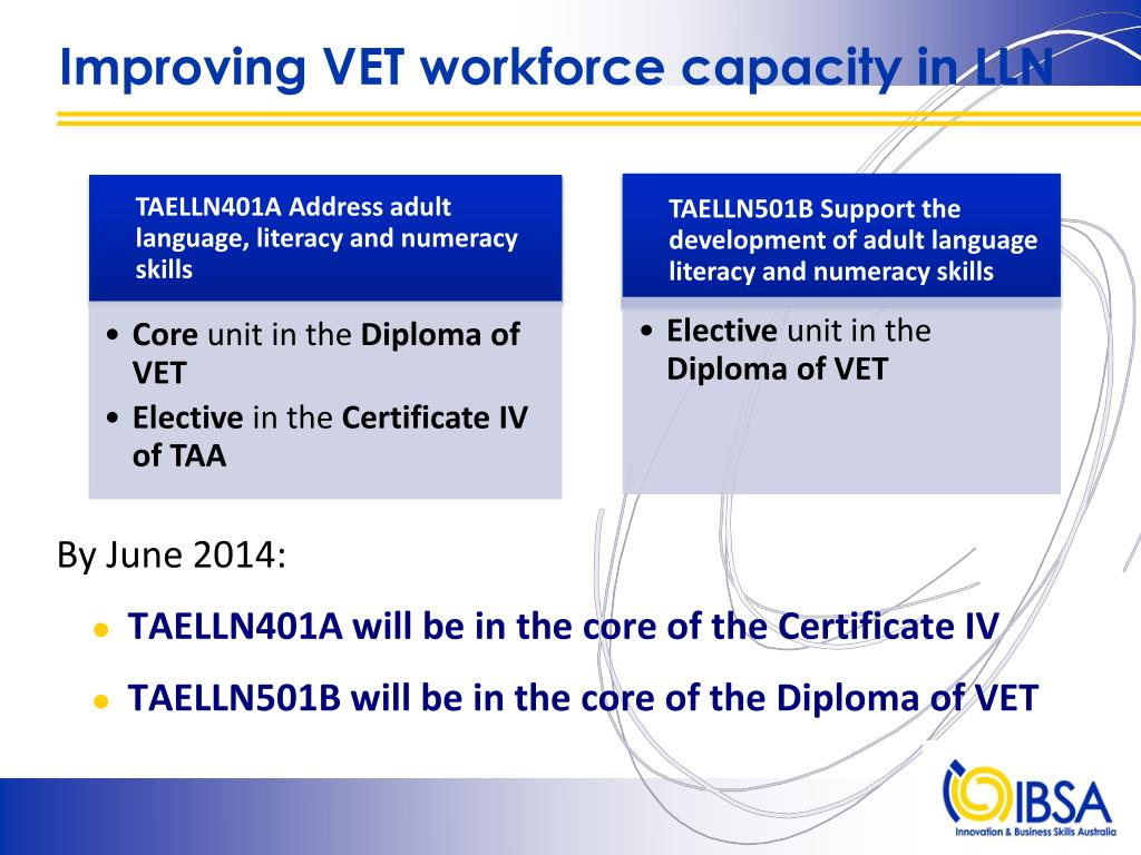 Improving VET workforce capacity in LLN