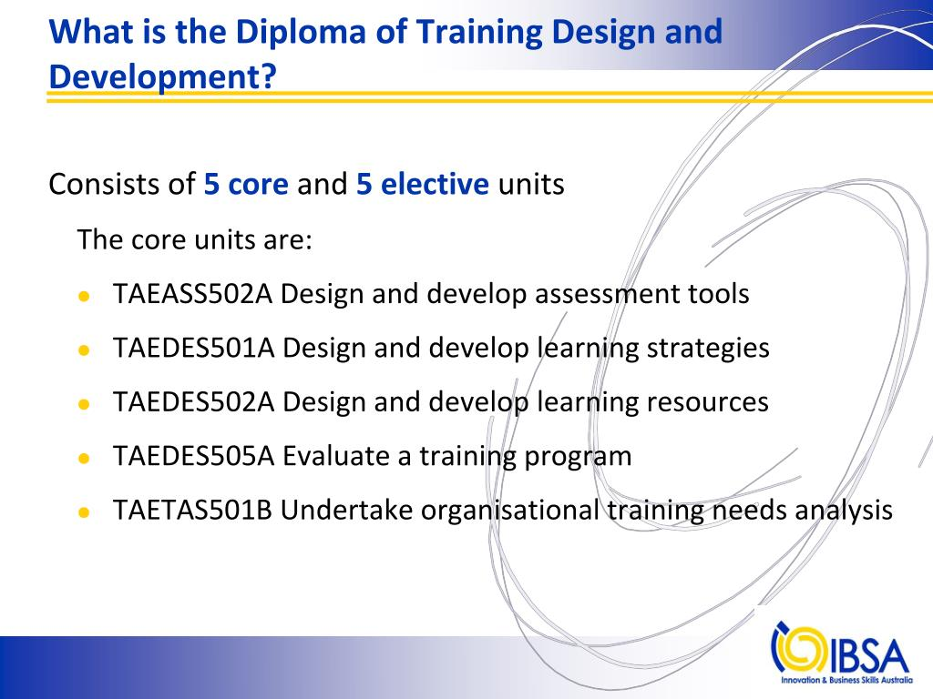 What is the Diploma of Training Design and Development?