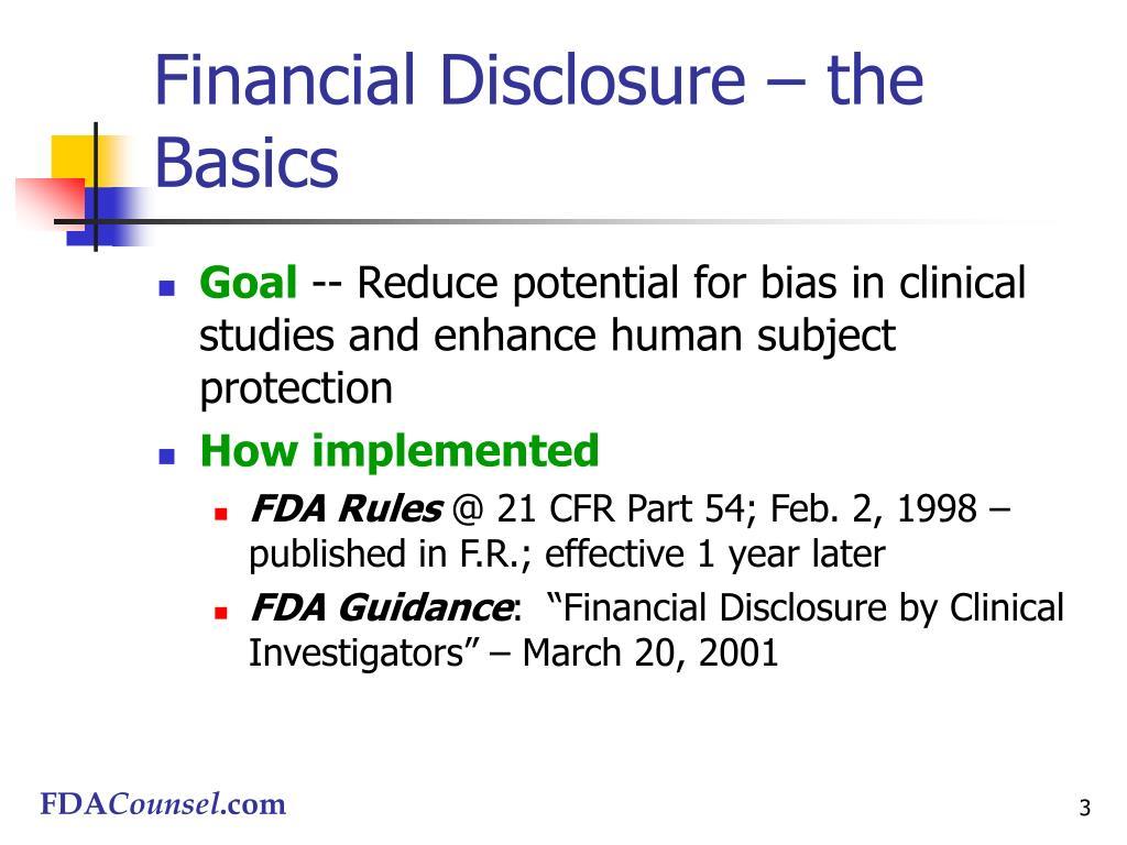 Financial Disclosure – the Basics