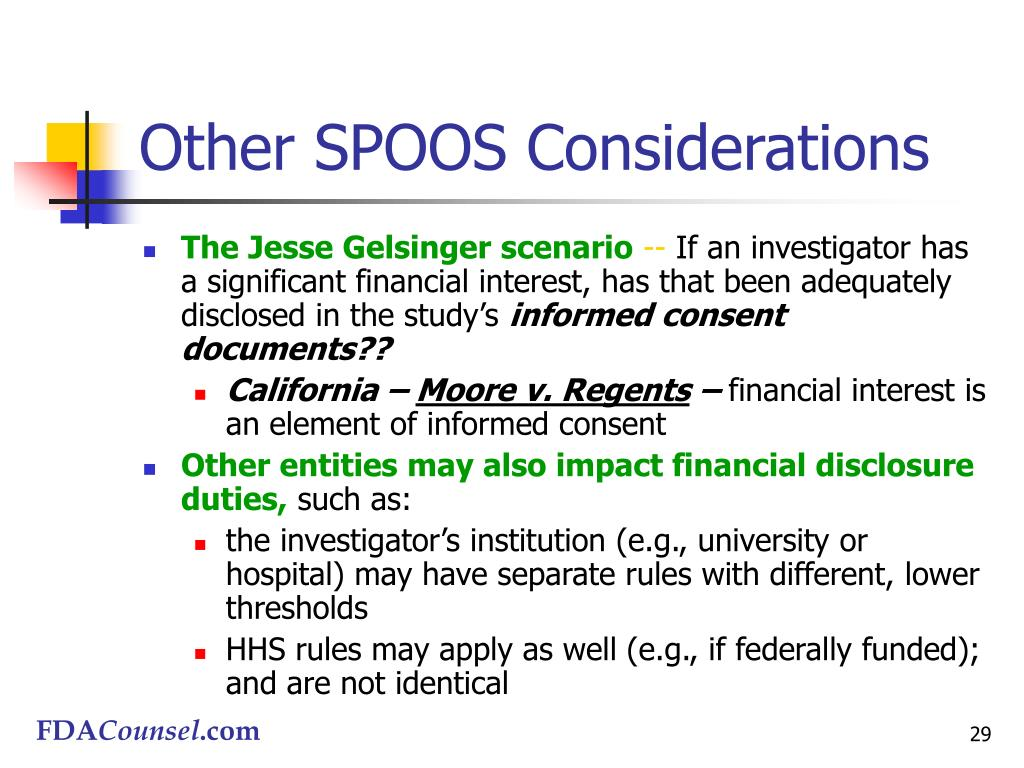 Other SPOOS Considerations