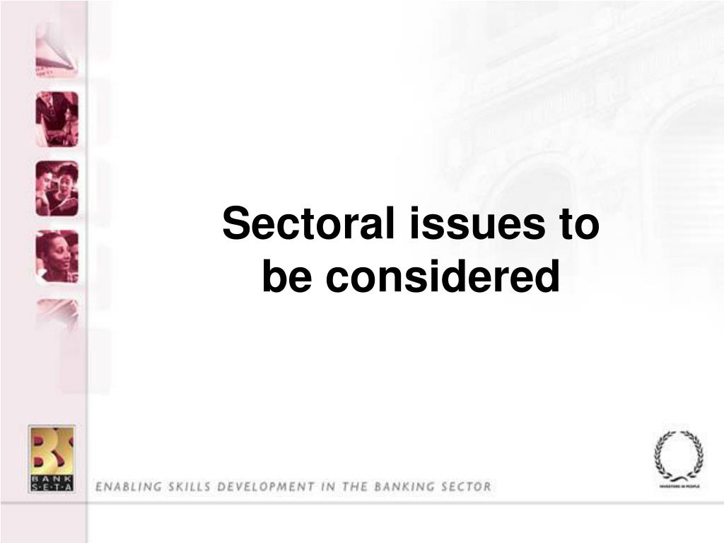 Sectoral issues to be considered