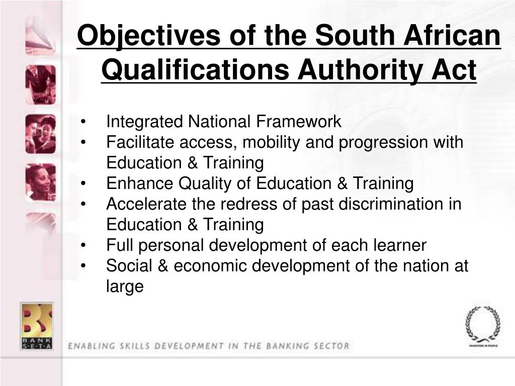 Objectives of the South African Qualifications Authority Act