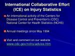 international collaborative effort ice on injury statistics