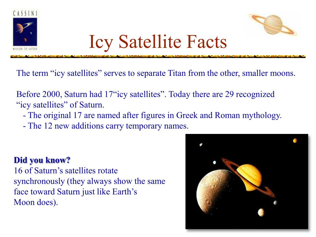 Icy Satellite Facts