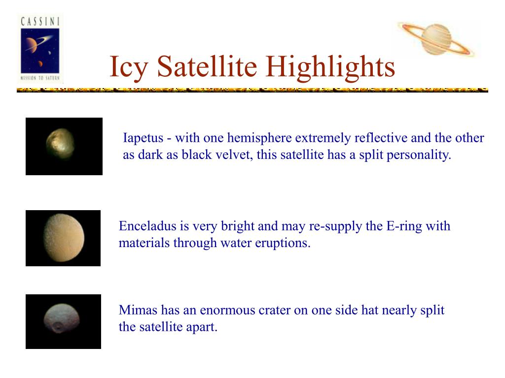 Icy Satellite Highlights