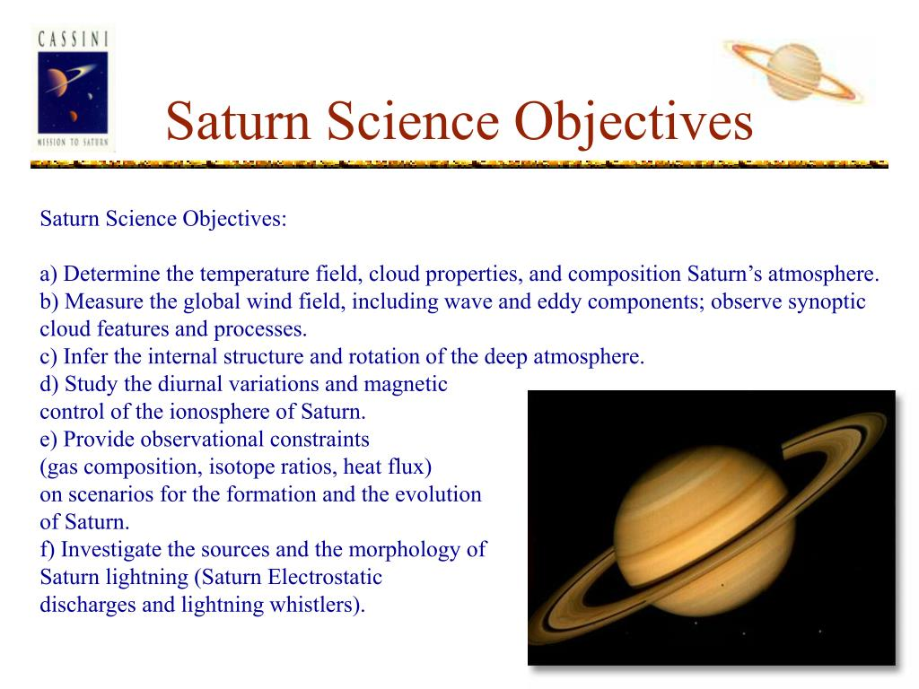 Saturn Science Objectives