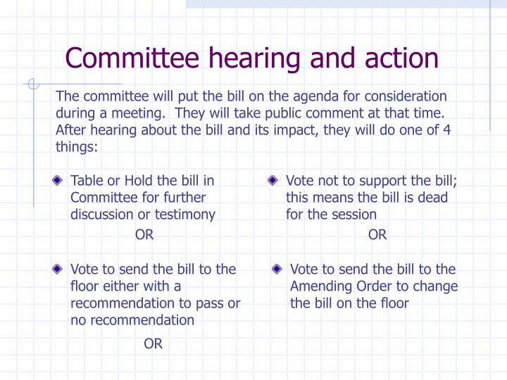 Committee hearing and action