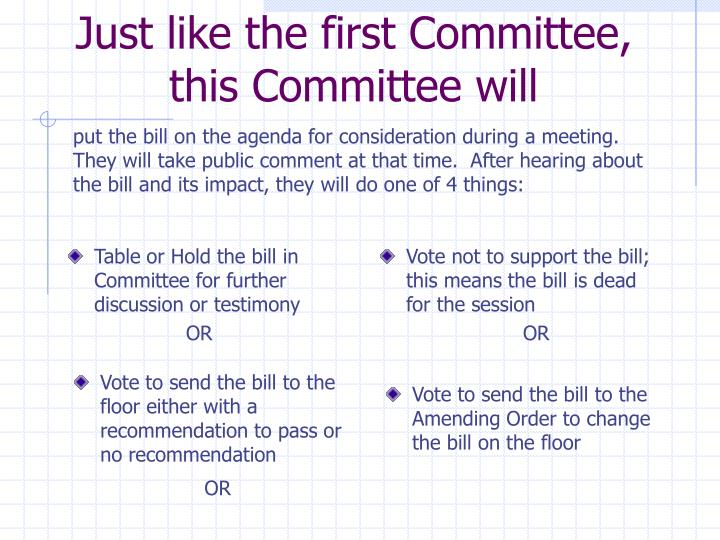 Just like the first Committee, this Committee will