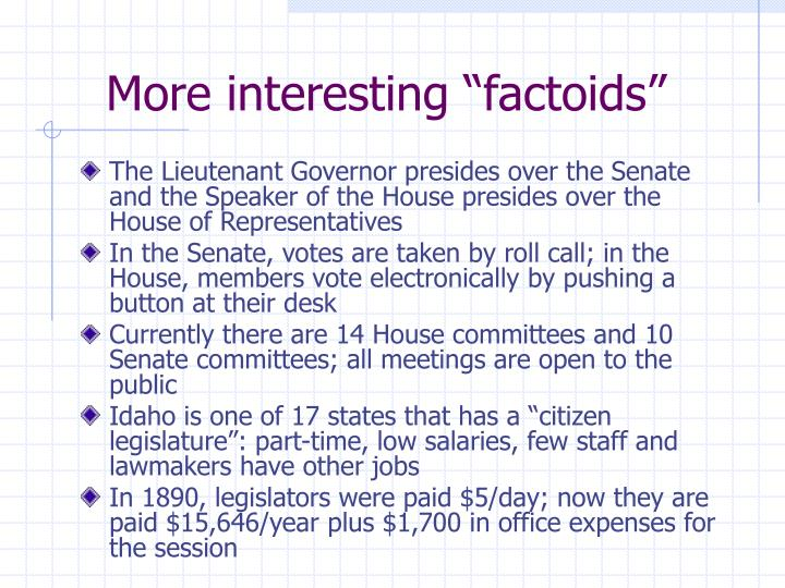 "More interesting ""factoids"""