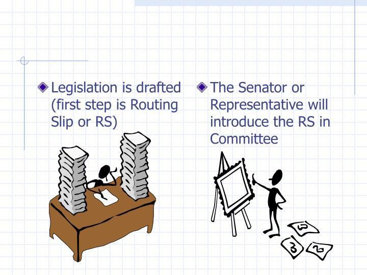 Legislation is drafted (first step is Routing Slip or RS)