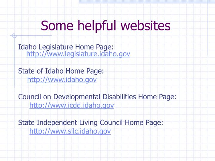 Some helpful websites