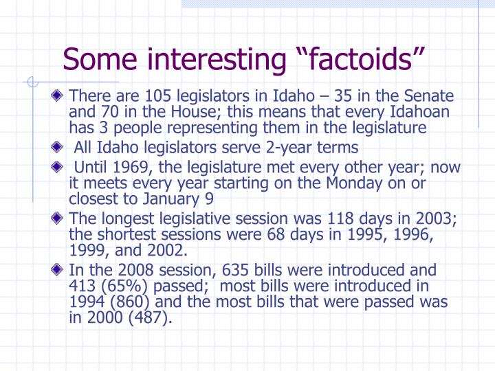 "Some interesting ""factoids"""