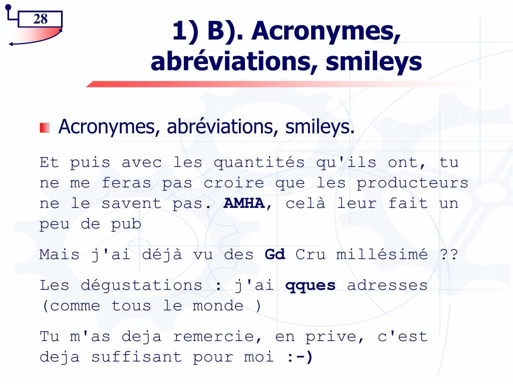 1) B). Acronymes,