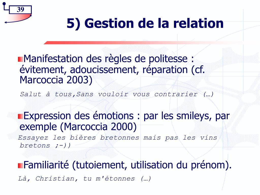 5) Gestion de la relation