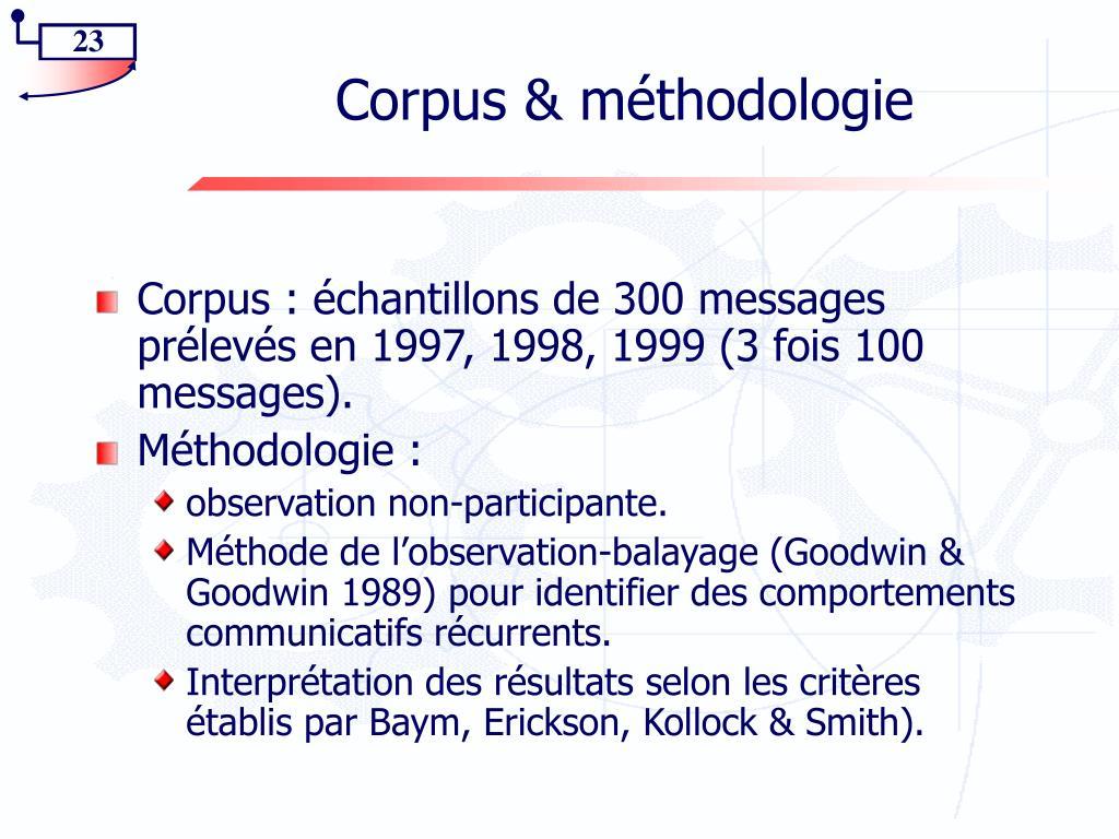Corpus & méthodologie