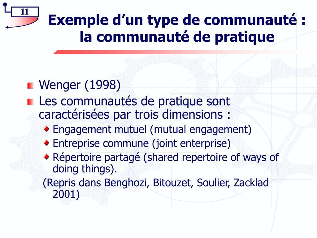 Exemple d'un type de communauté : la communauté de pratique