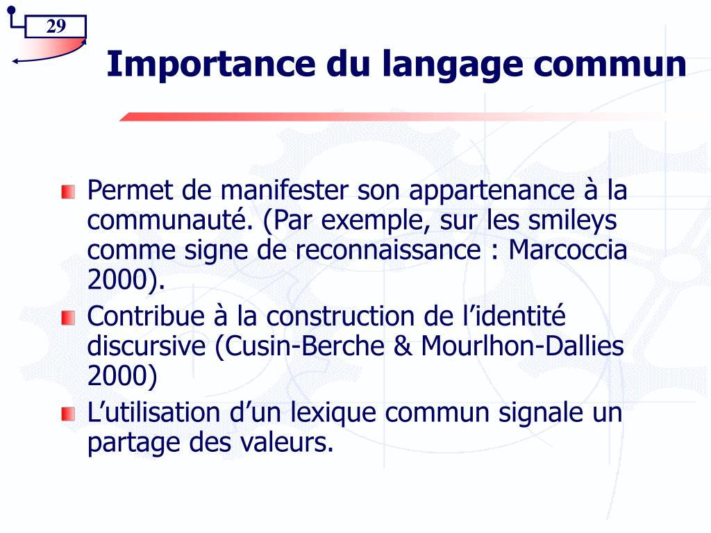 Importance du langage commun