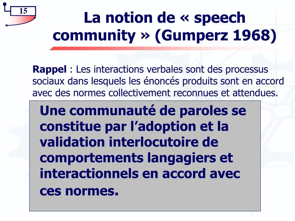 La notion de «speech community» (Gumperz 1968)