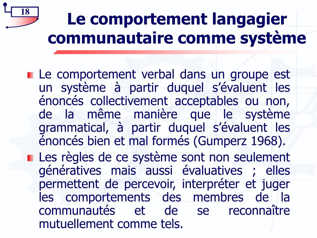 Le comportement langagier communautaire comme système