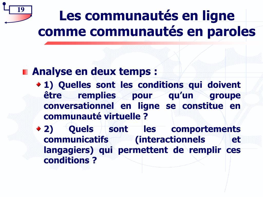 Les communautés en ligne comme communautés en paroles