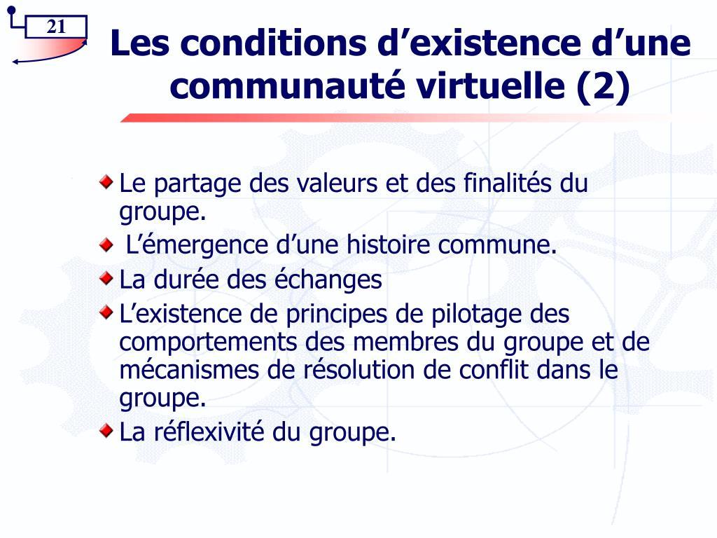 Les conditions d'existence d'une communauté virtuelle (2)