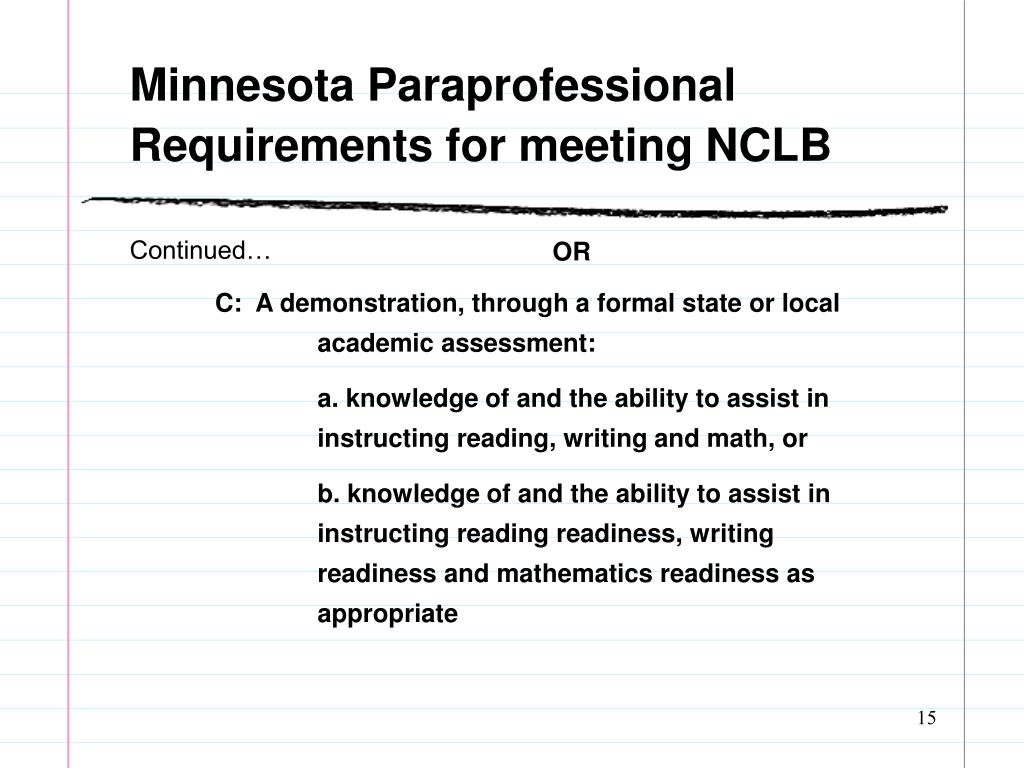 Minnesota Paraprofessional Requirements for meeting NCLB