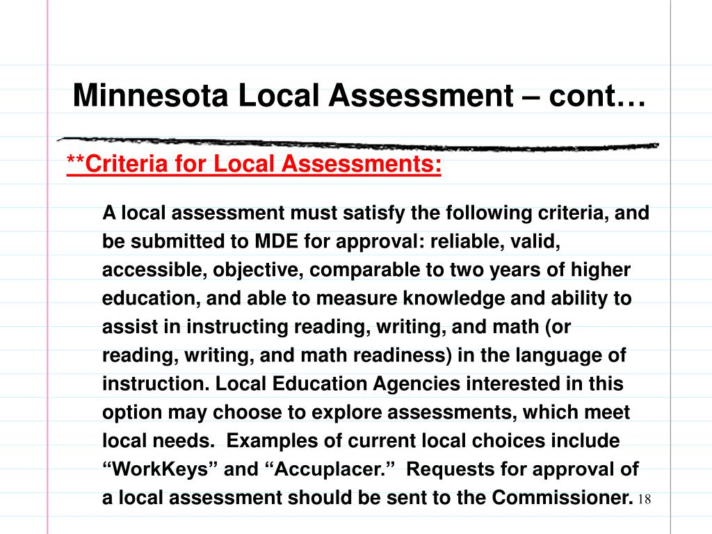 Minnesota Local Assessment – cont…