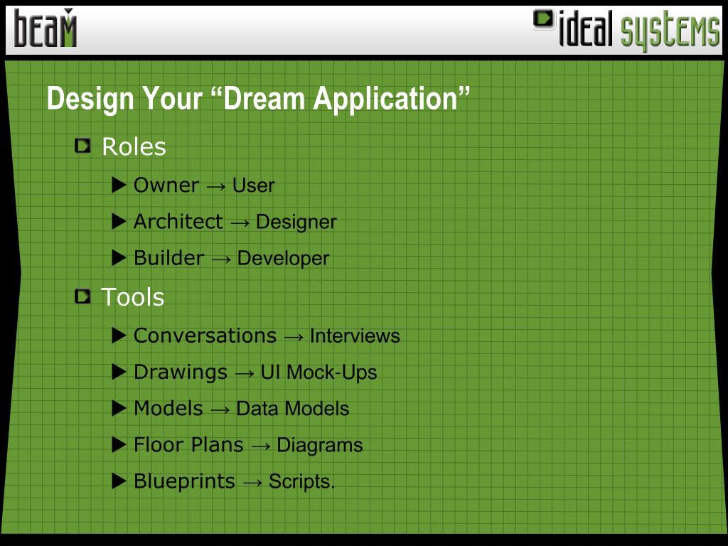 "Design Your ""Dream Application"""