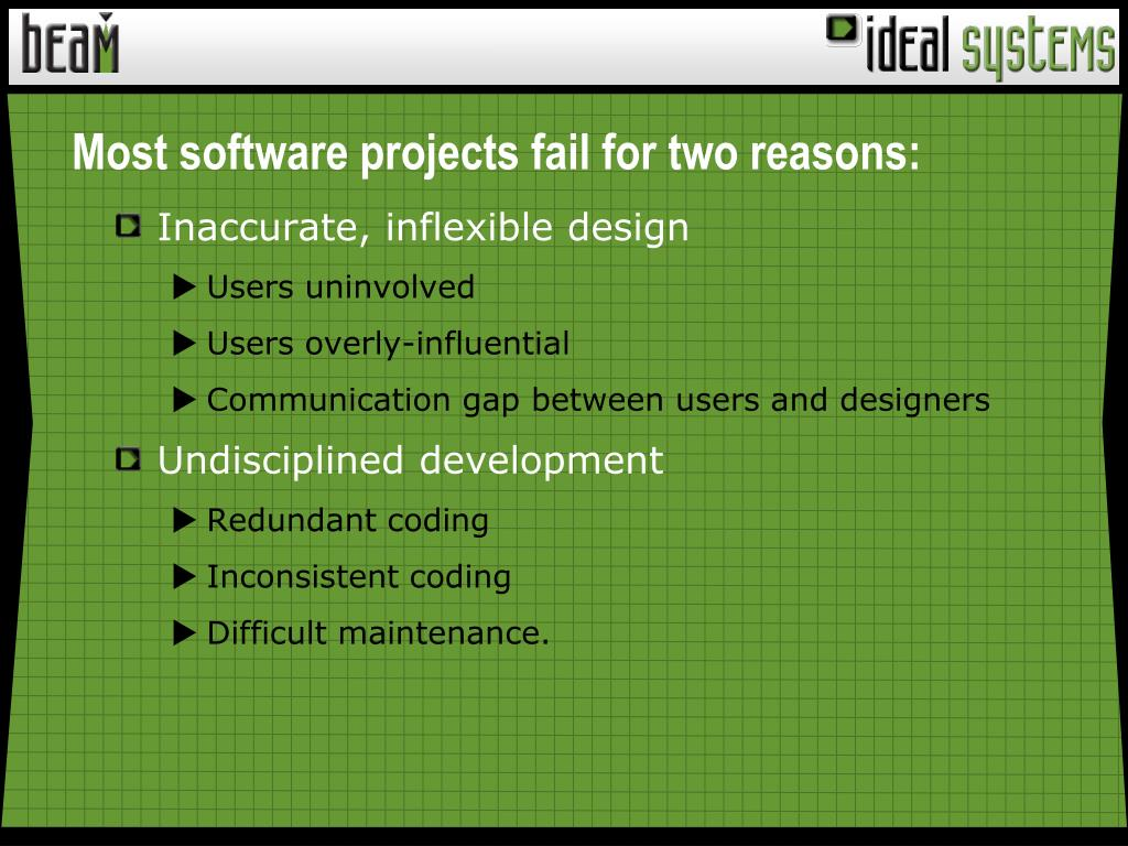 Most software projects fail for two reasons: