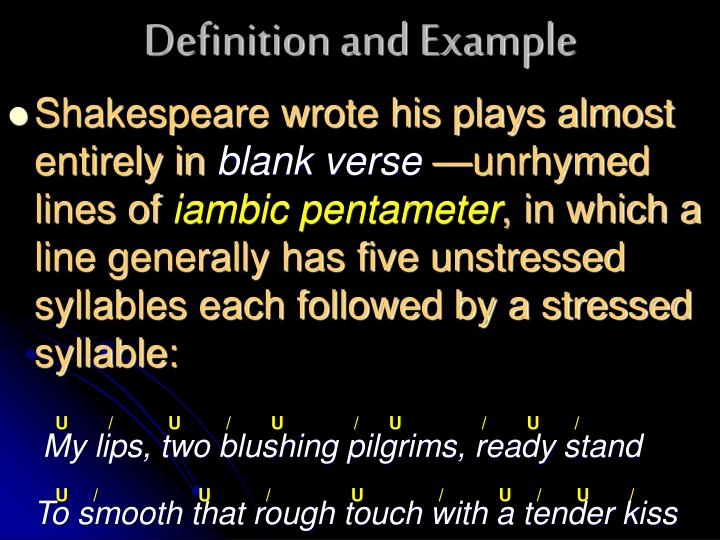 PPT - Blank Verse and Iambic Pentameter PowerPoint Presentation - ID ...