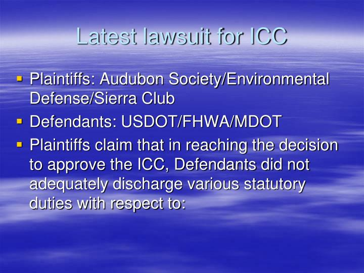 Latest lawsuit for icc