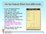 for the federal offset from arra funds