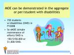 moe can be demonstrated in the aggregate or per student with disabilities