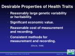 desirable properties of health traits