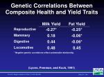 genetic correlations between composite health and yield traits