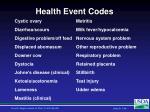 health event codes