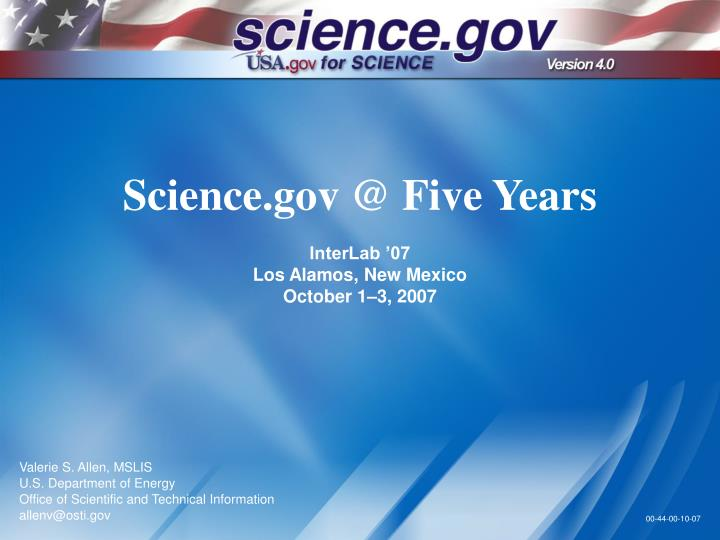 Science.gov @ Five Years