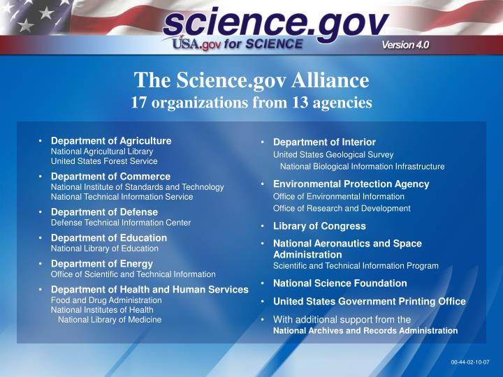 The science gov alliance 17 organizations from 13 agencies