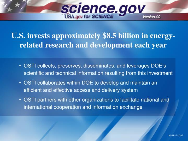 U.S. invests approximately $8.5 billion in energy-related research and development each year
